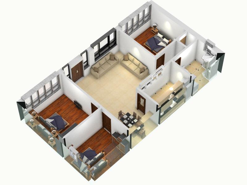 桃洼平房_3客厅,室内,厨房,卫生间等装修效果图大全