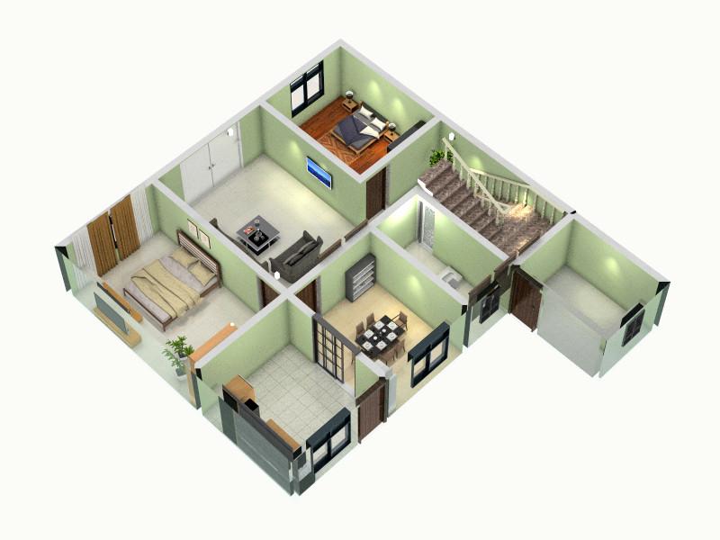 农村住房三房一厅设计图纸展示