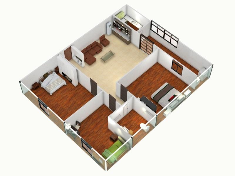 一层别墅-俯视图