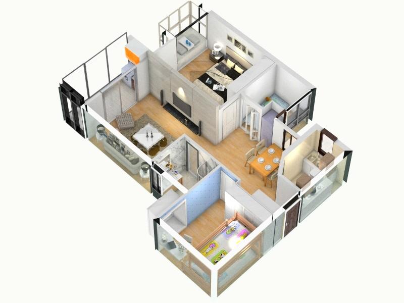 承重墙基线_厨房门冰箱柜_设计图-俯视图