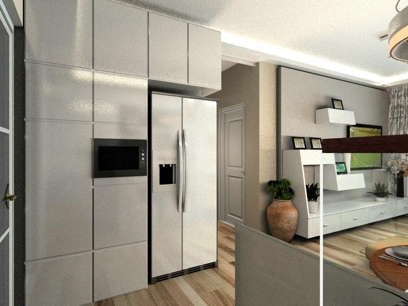 餐厅正对的墙紧靠着厨房门增设了整面墙的功能性橱柜,可以将冰箱微波图片