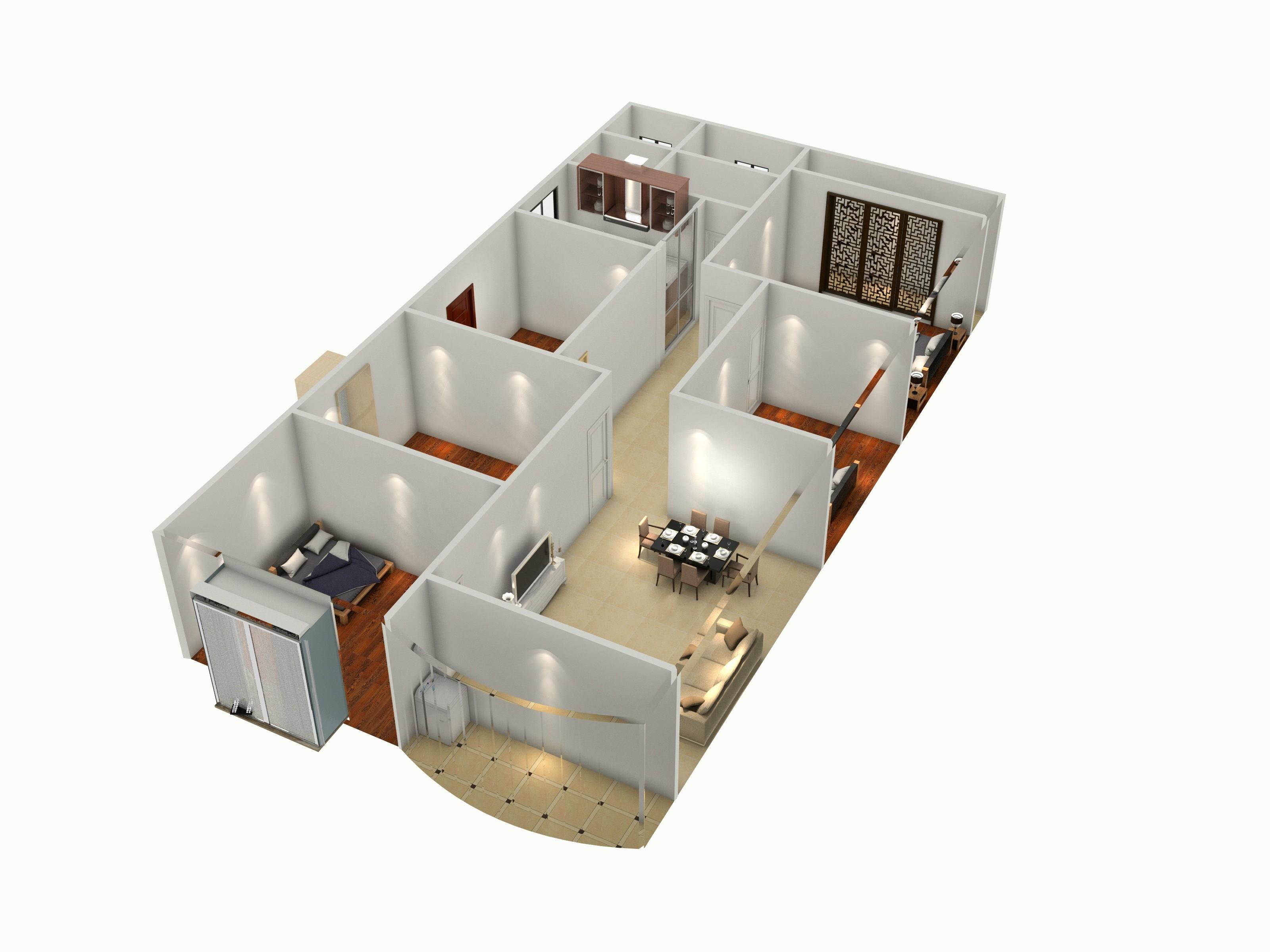 2楼平面-俯视图