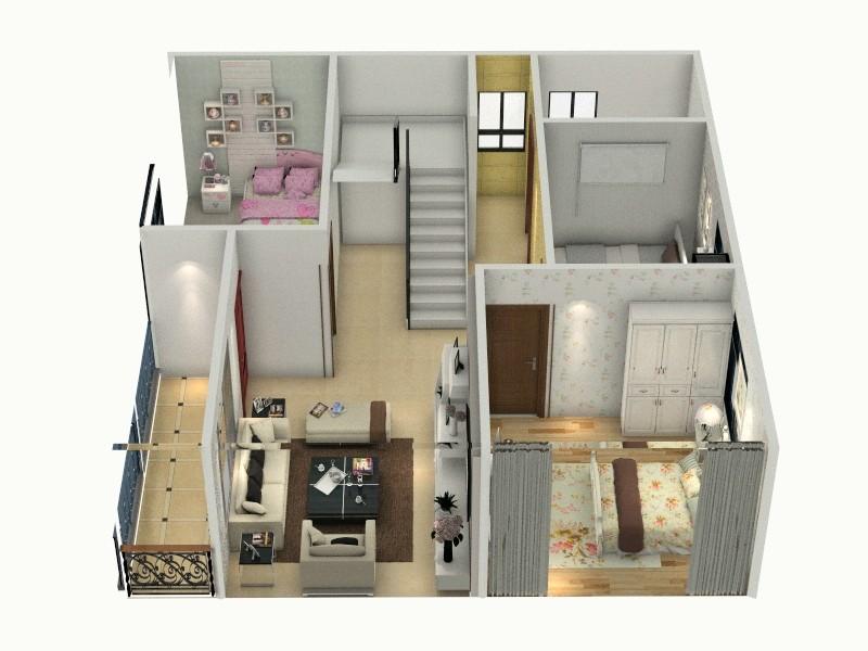 二楼平面图-俯视图