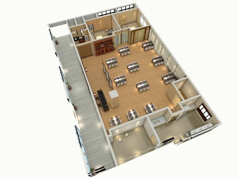日式餐厅平面图 (1)-俯视图