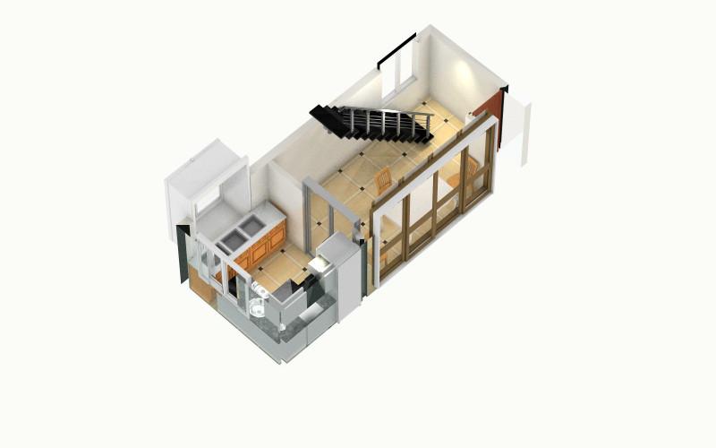 航海中的船的家-小厨房-俯视图