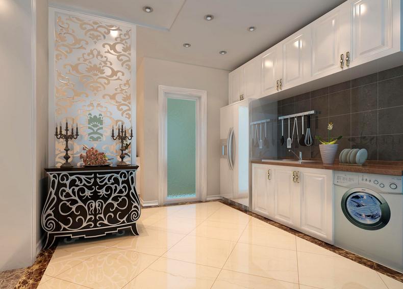 复式楼美式风格客厅餐厅卧室装修效果图图片
