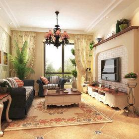 客厅窗帘沙发门窗灯具设计案例