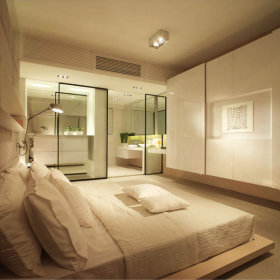 现代简约卧室干湿分离图片