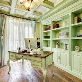 书房吊顶窗帘组合柜设计案例