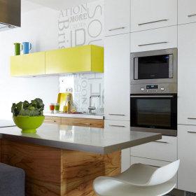 现代简约厨房吧台储物柜装修效果展示