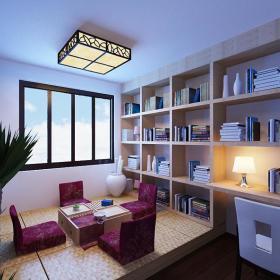 书房组合柜门窗灯具效果图