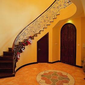 田园玄关楼梯玄关柜设计案例展示