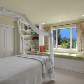 现代简约混搭卧室飘窗&落地窗效果图