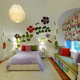 现代简约混搭儿童房飘窗&落地窗装修效果展示