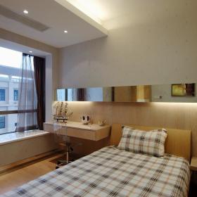 现代简约卧室飘窗&落地窗效果图