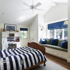 现代简约地中海卧室飘窗&落地窗设计图