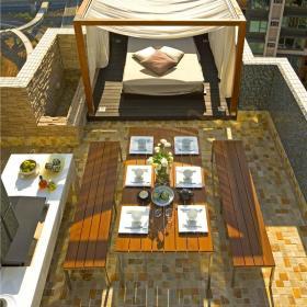 现代简约餐厅阳台外景装修图