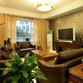 中式复古客厅效果图