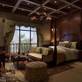 欧式卧室老人房吊顶效果图