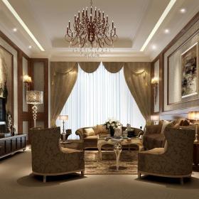欧式新古典复古客厅案例展示