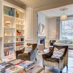 新古典美式客厅沙发单人沙发书架案例展示