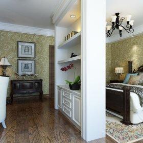 美式卧室别墅书柜台灯储物柜设计案例