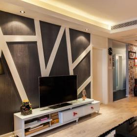现代简约客厅背景墙电视柜灯具装修案例