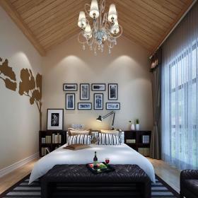 现代简约卧室窗帘背景墙台灯灯具设计方案